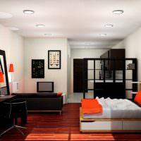 Черная мебель в дизайне квартиры студии