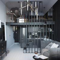 Двухярусная квартира в серых тонах