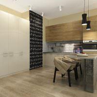 Грифельная доска на стене кухни