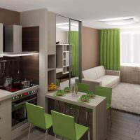 Зеленые шторы в однокомнатной квартире