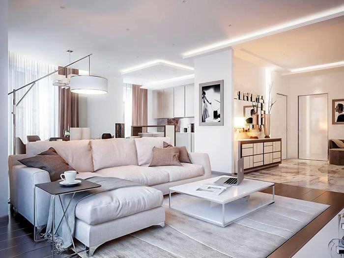 Светодиодная подсветка потолка в светлой гостиной