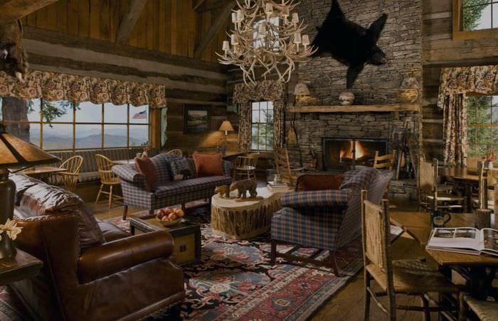 Дизайн гостиной в стиле американского кантри