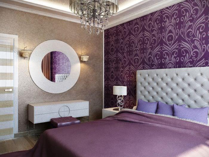 Комбинирование темных обоев в интерьере спальни