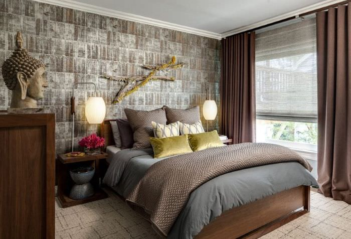Дизайн спальной комнаты в темных тонах