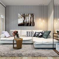 Разделение пространства гостиной стеклянными перегородками