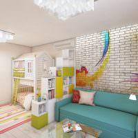 Бирюзовый диван в детской комнате