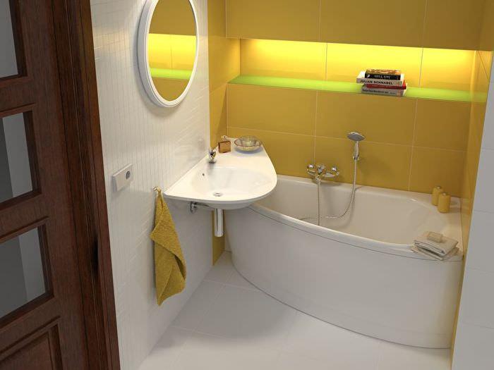 Интерьер компактной ванной комнаты в однокомнатной квартире