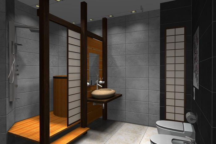 Совмещенная ванная в японском стиле