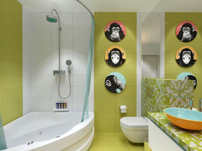Картинки с обезьянками на стене ванной комнаты