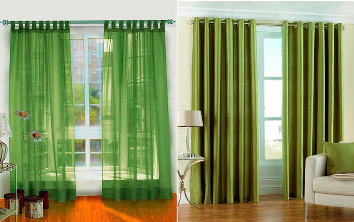 Шторы зеленого цвета в разных оттенках
