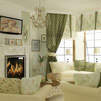 Интерьер гостиной в зеленых оттенках