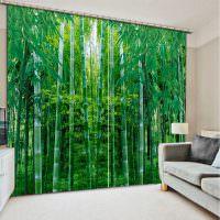 Бамбуковый лес на шторах в гостиной