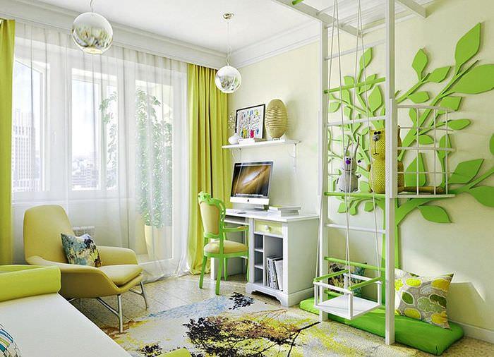 Зеленое дерево на стене детской комнаты