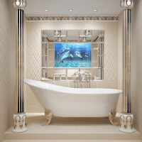 Белая ванна из акрила на пьедестале из кафеля