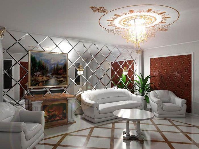Дизайн гостиной с зеркальной стеной