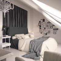 Дизайн спальни в обустроенном чердаке