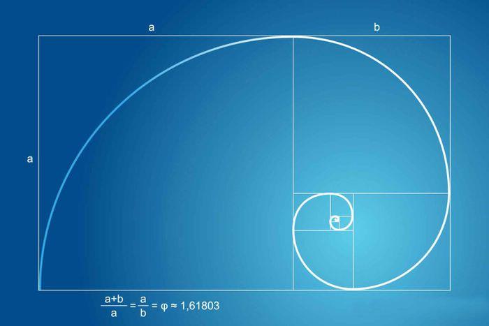 Диаграмма золотого сечения на синем прямоугольнике