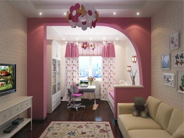 Полуарка в роли разделителя пространства в детской комнате