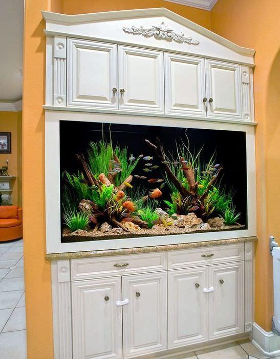 Кухонный шкаф с встроенным аквариумом
