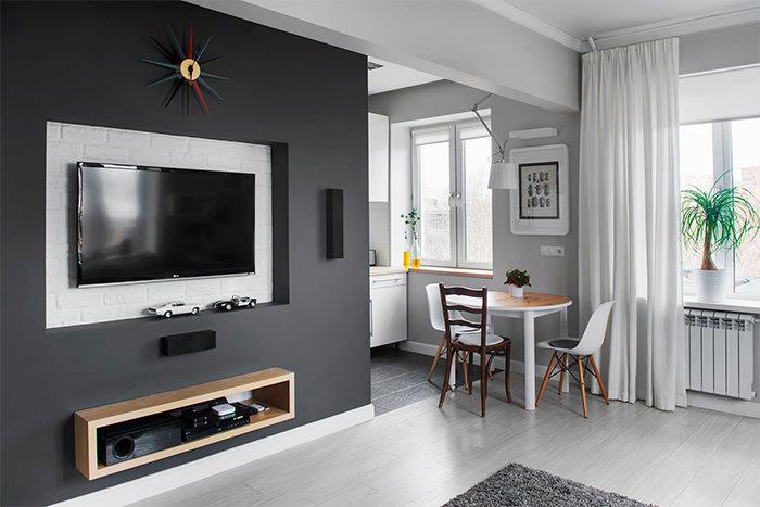 Дизайн кухни-гостиной в хрущевке панельного дома