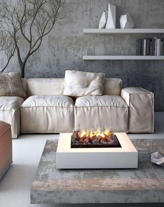 Белый диван в серой гостиной