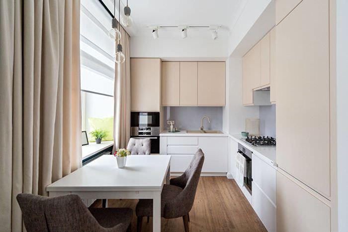 Бежевые фасады углового кухонного гарнитура