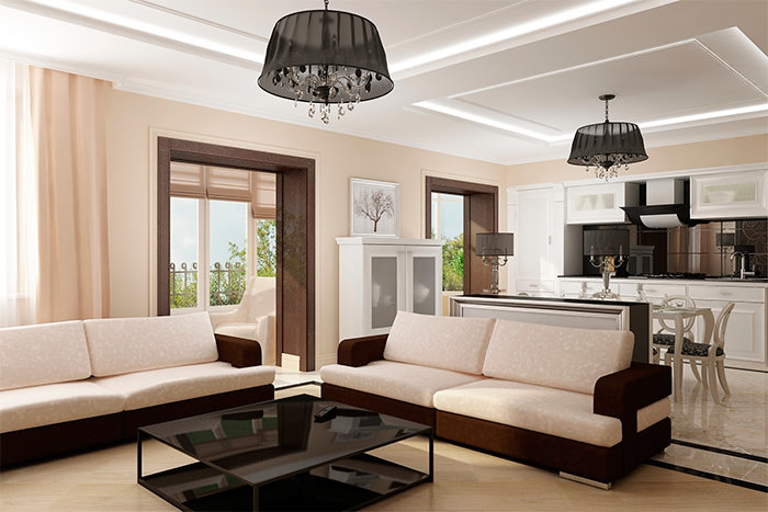 Дизайн гостиной в стиле модерн с черными люстрами