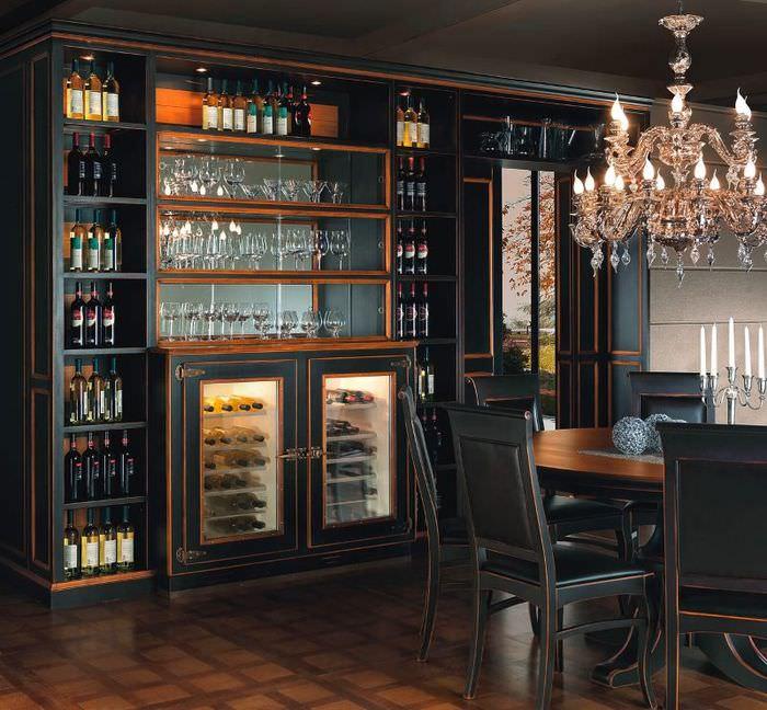 Черный кухонный гарнитур из орехового дерева
