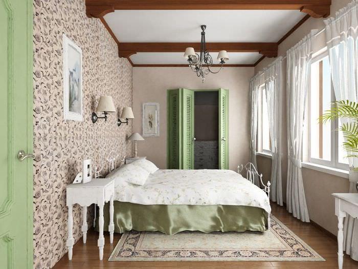 Легкие занавески на окнах спальни в стиле прованс