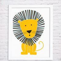 Детский рисунок льва на кирпичной стене