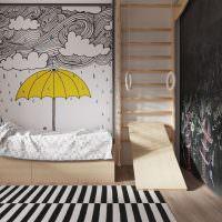 Желтый зонтик на фотообоях в детской