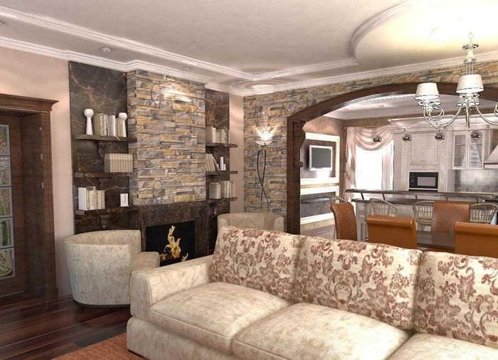 Декорирование гостиной с помощью натурального камня