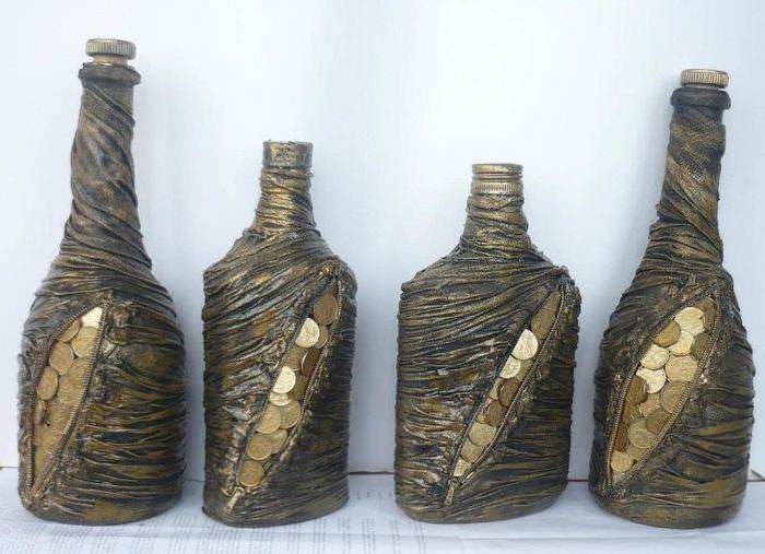 Декор бутылок колготками и монетками