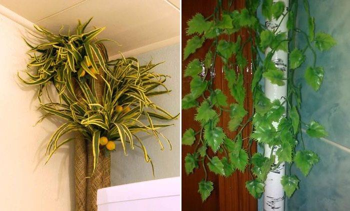 Декорирование растениями стояка отопления в квартире