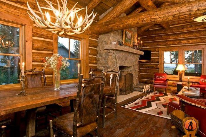 Интерьер деревянного дома в старорусском стиле