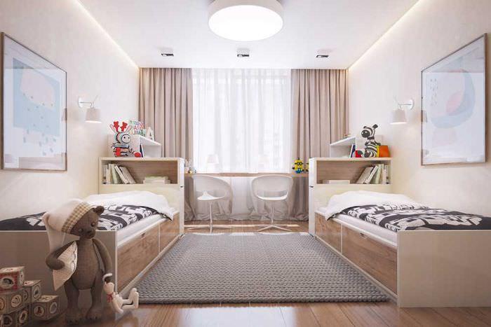 Детская комната в 14 кв метров с двумя кроватями