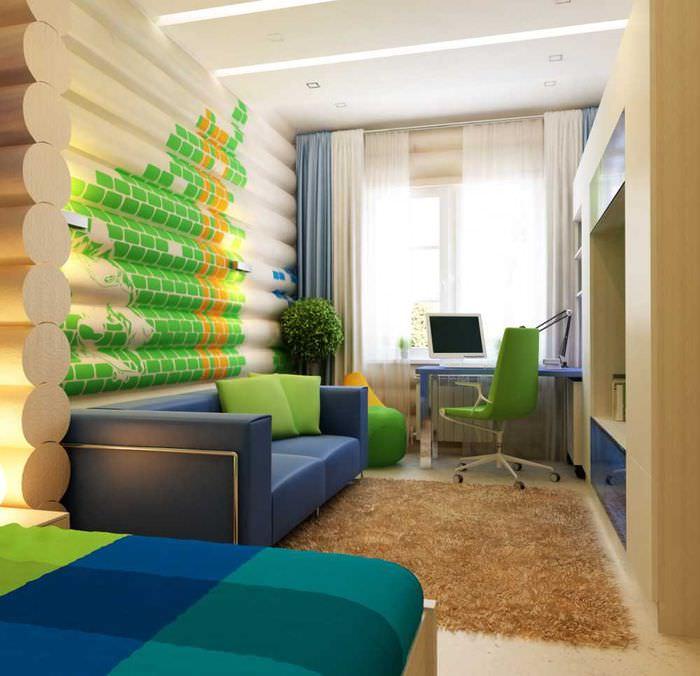 Интерьер детской комнаты в срубовом доме
