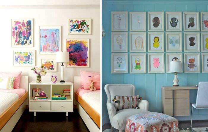 Украшение стен детской рисунками в рамках