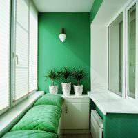 Оформление балкона в зеленом цвете