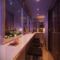 Барная стойка на балконе многоэтажного дома