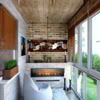 Имитация камина в дизайне балкона
