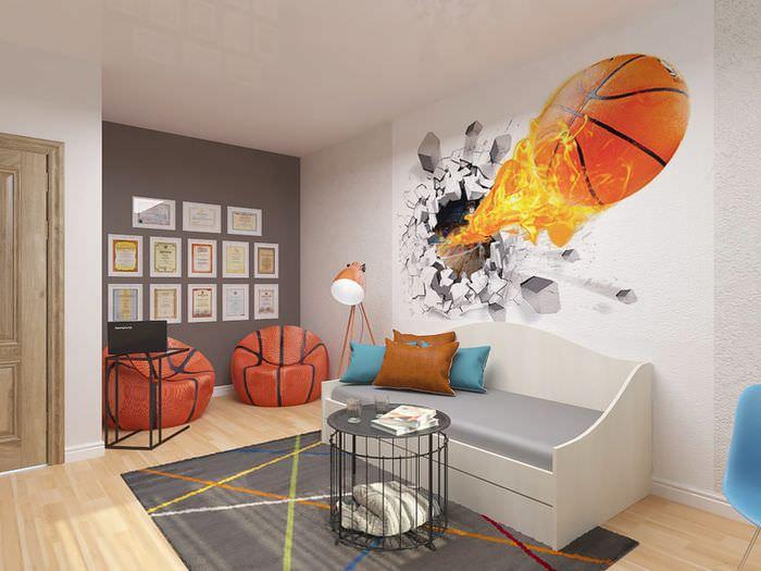 Пример дизайн жилой комнаты, созданный в специализированной программе