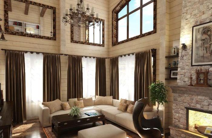 Интерьер гостиной деревянного дома в итальянском стиле