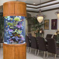 Дизайн столовой с аквариумом в виде колонны