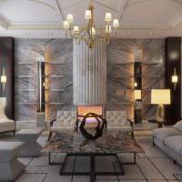 Дизайн гостиной в серых тонах с элементами античности