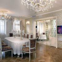 Хрустальные люстры в интерьере столовой частного дома