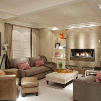 Дизайн гостиной с двумя диванами