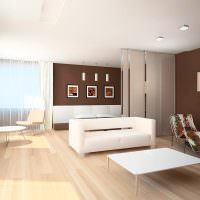 Сочетание коричневого цвета с бежевым в дизайне гостиной