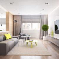 Дизайн узкой гостиной в бежевых оттенках