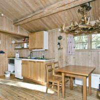Интерьер летнего домика из досок